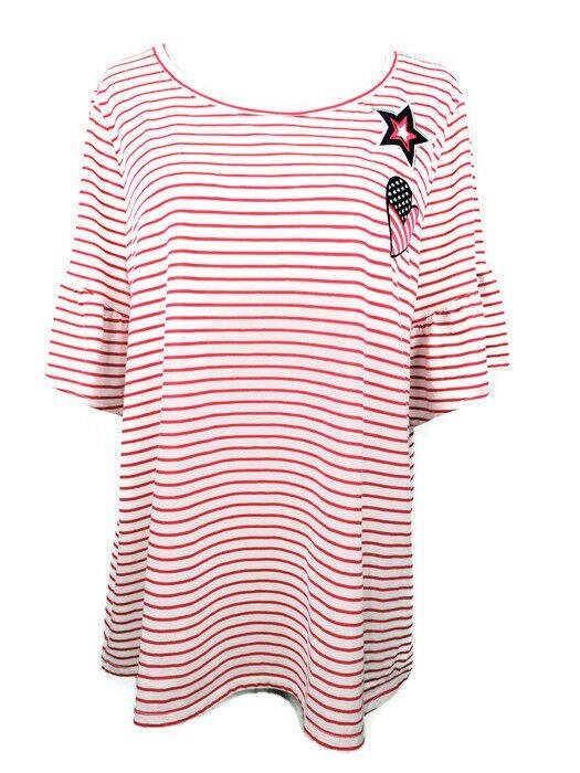 7b0540ab8650b1 Lane Bryant Womens 18/20 Pink Striped Stars Heart Flag Flutter Short Sleeve  Top #LaneBryant #Blouse #Casual