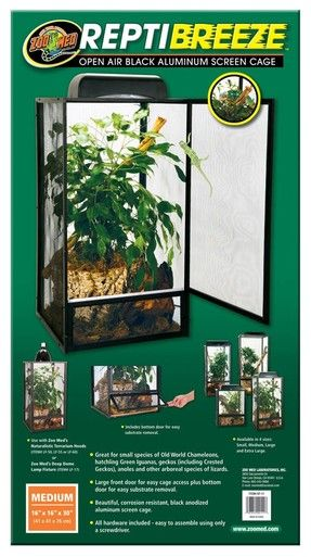 Zoo Med ReptiBreeze Open Air Anodized Aluminum Screen Cage Terrarium 16x16x30 MD
