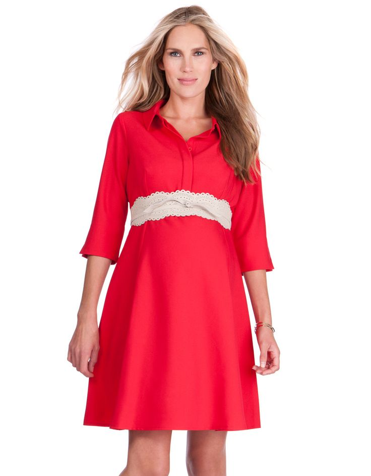 There's nothing quite like a little red dress for an instant energy boost, and our Red Woven Maternity Shirt Dress is perfect for pregnancy and beyond! Made in premium woven crepe and cut for a flattering a-line silhouette, this dress is designed to skim stylishly over your curves before, during & after pregnancy. A chic collar completes the look, while a discreet placket conceals easy button down nursing access at the front. The empire waist is gently elasticized at the back – add a stylish…