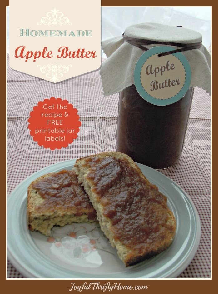 Get this recipe for homemade apple butter and FREE printable labels. Also includes lots of ideas for using apple butter. - Joyful Thrifty Home