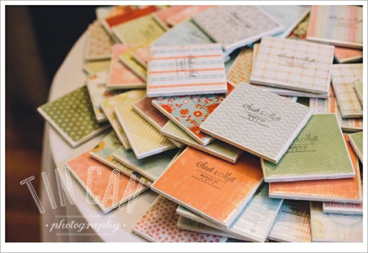 Wedding Favors for Guests; DIY coasters made by the bride