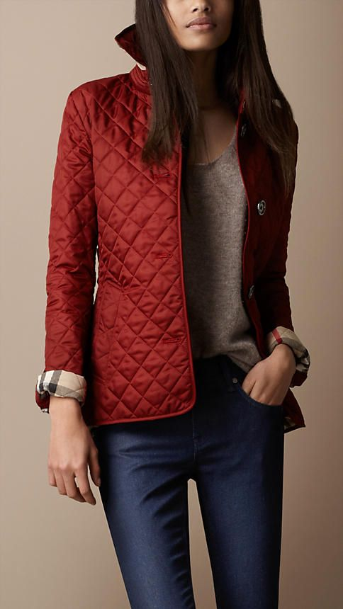 Burberry Single Breasted Quilted Jacket in Dark Spice