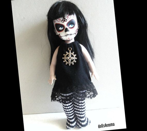 Living Dead Doll Clothes - Goth Black Dress with Skulls and Black and White Striped Leotards - Handmade Fashion - by dolls4emma