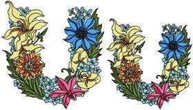Exotic Flowers Font - Letter U