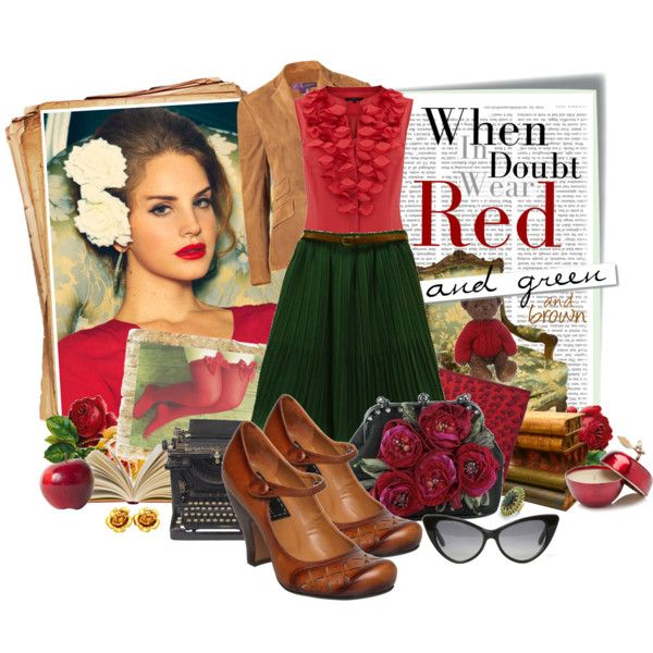 Wear Red, Green and Brown, created by ellergy on Polyvore