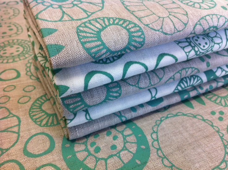 Green on natural and oatmeal linen.