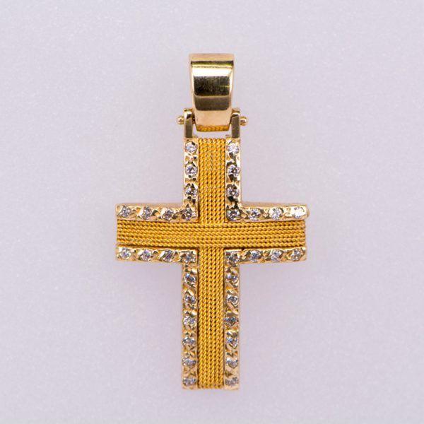 Σταυρός βαφτιστικός χρυσός Κ14 με ζιργκόν
