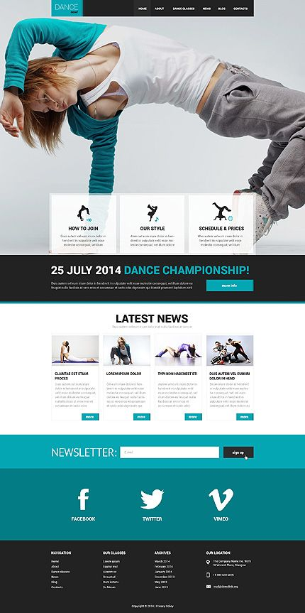 Template 50542 - Dance Responsive Website Template