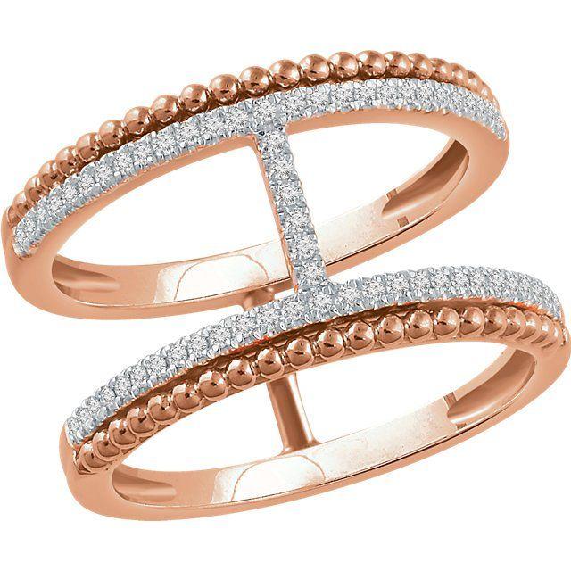 14kt Rose .20 CTW Diamond Negative Space Ring 1