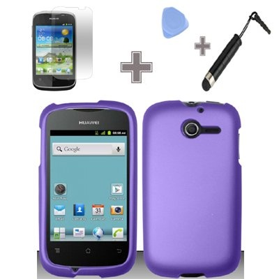 Rubberized Solid Purple Color Snap on Hard Case Skin Cover Faceplate with Screen Protector, Case Opener and Stylus Pen for Huawei Ascend Y / M866 – StraightTalk | Mobile Phone Reviews|Buy Mobile Phones Online