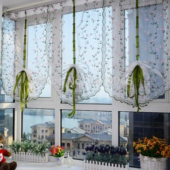 Artículo caliente de la gasa tratamiento de la ventana de persianas cortina romana tulle sheer cortinas para cocina sala de estar del dormitorio panel