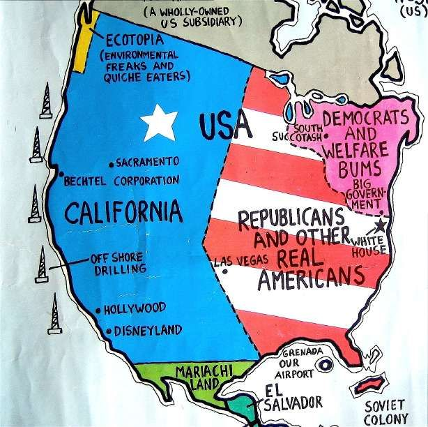 almost funny map labeled republican geography 101