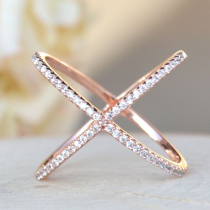 Rose gold plated brass ring with CZ Style #TFHR1003RG