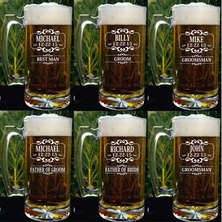 Groomsman Clear Glassware Set Beer Mug Gifts. Personalized-Engraved-Wedding