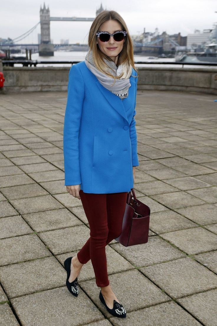 Bright blue and burgundy are an unexpected color combination, but Palermo makes it work. It's a great way to add color to your cold-weather outfits. Coat, Reiss; bag, Anya Hindmarch; sunglasses, Wunderkind
