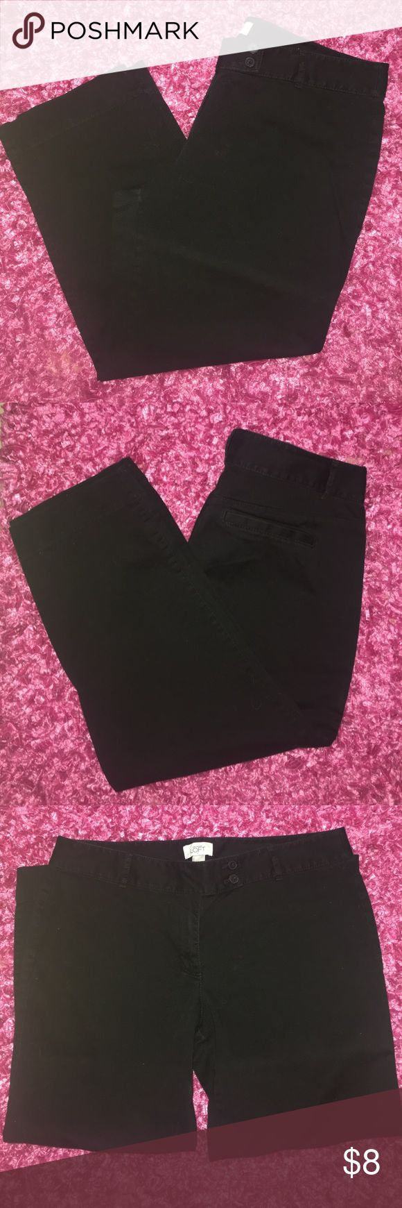 """Loft black ankle pants. These are black Loft pants. To some might fit as ankle pants with a little bell bottom. I'm 5""""2 and they fit like ankle pants. Good condition. Size 12. LOFT Pants Ankle & Cropped"""