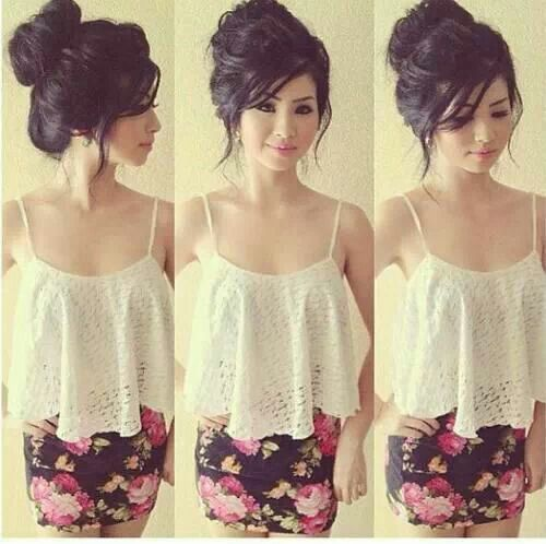 Cute hairstyle and cute outfit!