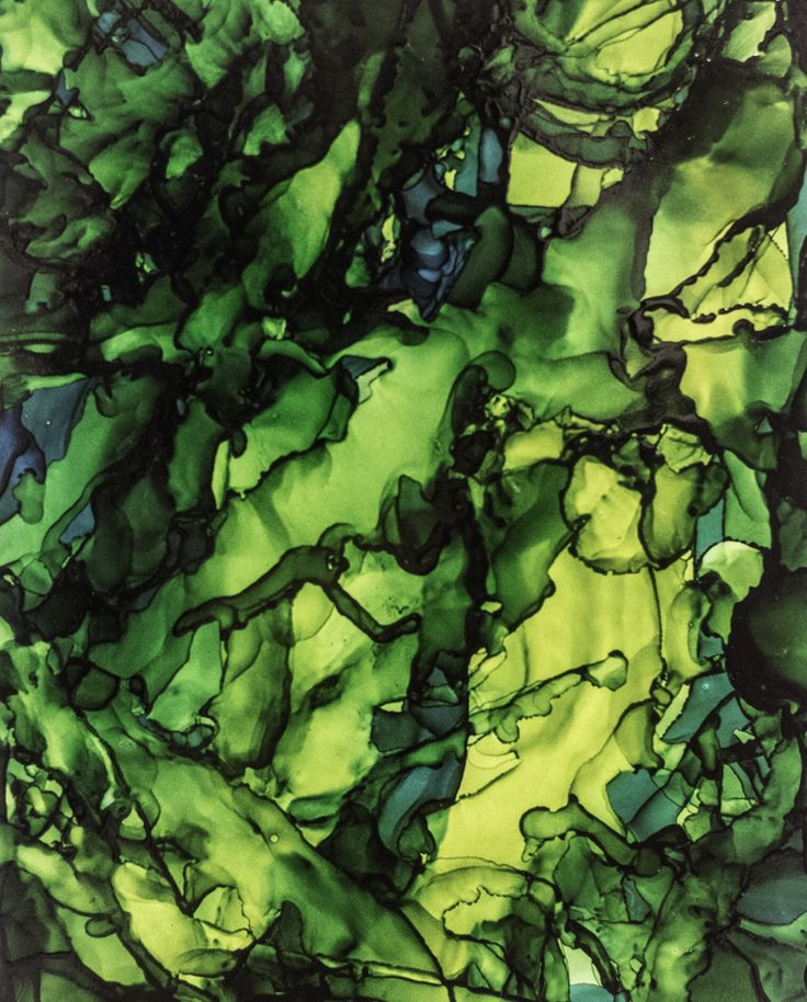 Stained Glass Forest - Alcohol Ink on Yupo Paper by Serena Webber www.serenawebber.com