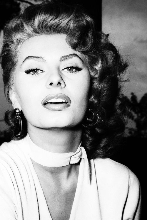 "Sophia Loren on the set of ""La fortuna di essere donna"", 1955."