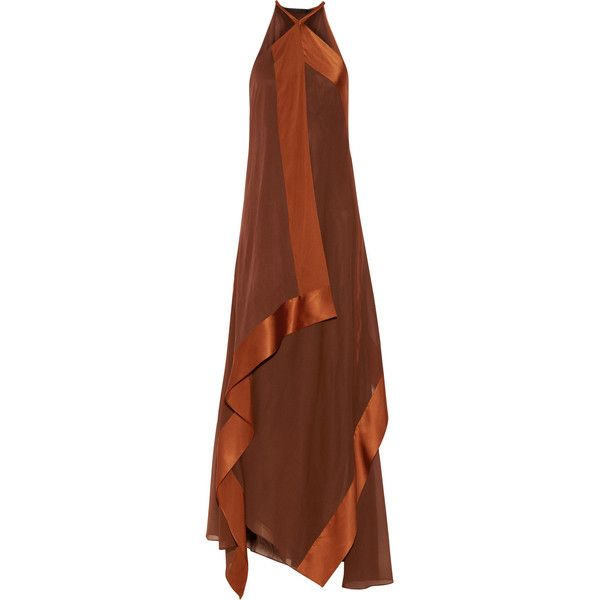 Donna Karan New York Draped two-tone stretch-silk gown ($1,169) ❤ liked on Polyvore featuring dresses, gowns, long dresses, vestidos, donna karan, brown, draped dress, petite evening dresses, petite dresses and loose dress
