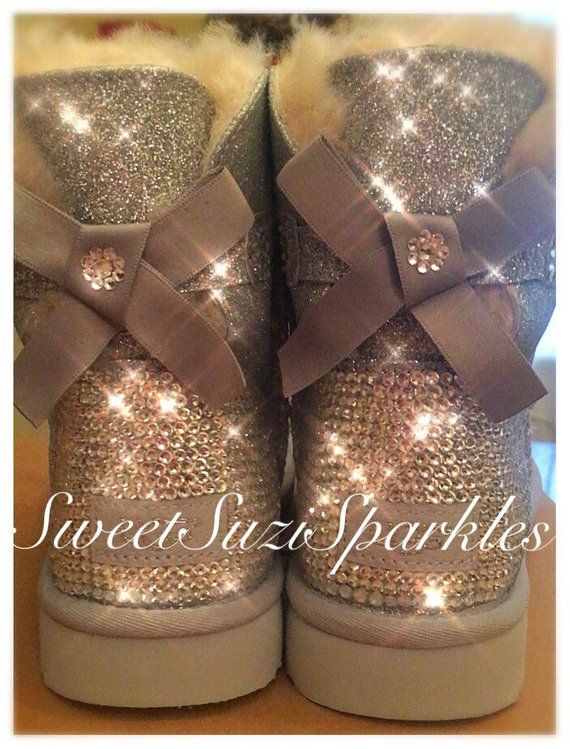 56ce792b47c Custom Mini Bailey Bow Sparkle UGG Boots | Suzi Sparkles! in 2019 ...