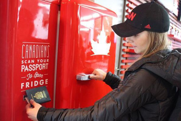 GENIUS. Team Canada's festive beer fridge that will only open with a Canadian passport as the key. #SelfMagazine