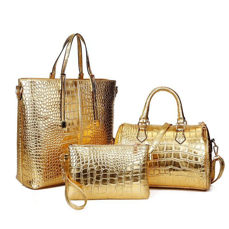 Vortex eCommerce Store -             3Pcs Luxury Alligator Crocodile Women Leather Handbag Set Famous Brand Women Shoulder Bags Ladies Handbags Purse Clutch Bag Gold