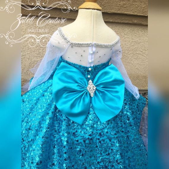 Elsa Dress Mini Bride Dress Flower Girl Dress Rosette Dress High To Low Dress Big Bow