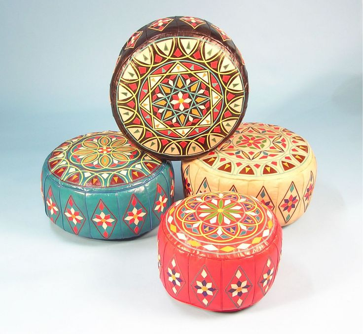 Ottomans are the ideal accessory to tie your Moroccan decor together.  Hand dyed and  hand-stitched in leather with rich embossed patterns  they create a  festive Moroccan accent, particularly when used  for low seating  around a traditional Moroccan table.