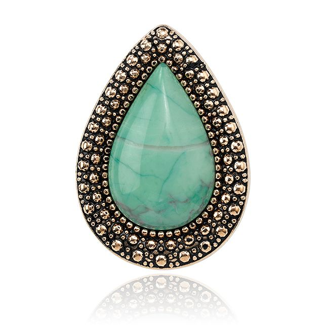 BOHEMIAN BARDOT RING - ELECTRIC MINT