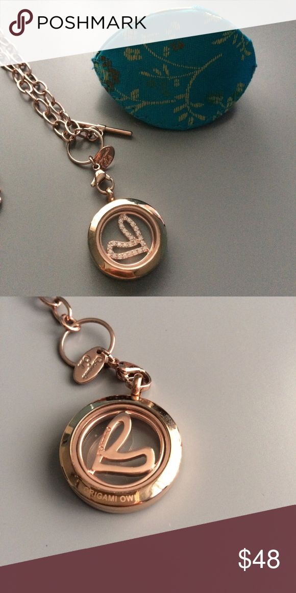 Authentic Origami Owl Locket Small Origami Owl Rose Gold Locket. Includes Rose gold toggle chain and Rose gold heart window plate with Swarovski crystals. Origami Owl Jewelry Necklaces