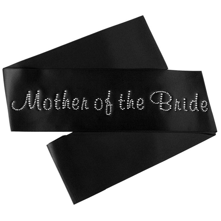 Mother of the Bride Satin Sash with Crystals - Black - Bridal Party Sashes - Black Satin Bridal Party Sashes - The Bridal Party - Bride and Hens Sashes - $14.95 Check it out @ http://thebridalparty.com.au/