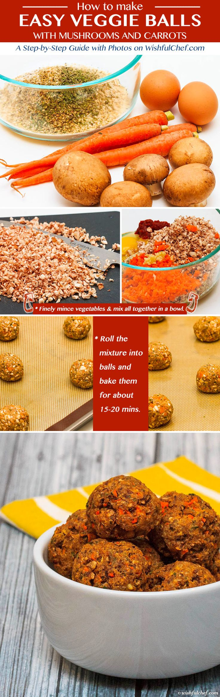 Easy Veggie Balls with Mushrooms and Carrots // wishfulchef.com #Healthy #Vegetarian