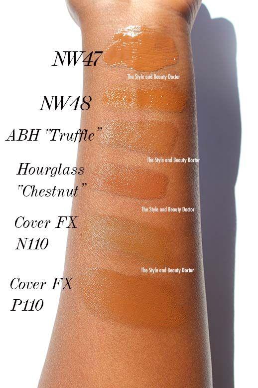 foundations dark skin mac nw47 nw48 anastasia beverly hills stick foundation truffle hourglass vanish foundation chestnut cover fx n110 cover fx p110 swatches on dark skin