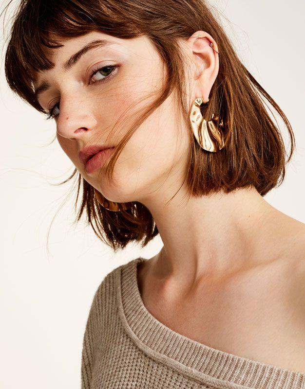 Pull&Bear - femme - accessoires - bijoux - boucles d'oreille ondulées dorées - or - 09992324-I2017