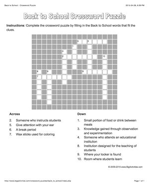 Back to School crossword puzzle that changes each time you visit.