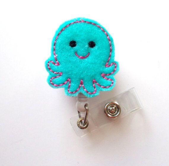 Octopus Cute Badge Holder Nurses Badge Holder Felt by JeJeweled, $6.00