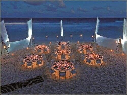Beautiful Beach Wedding Reception