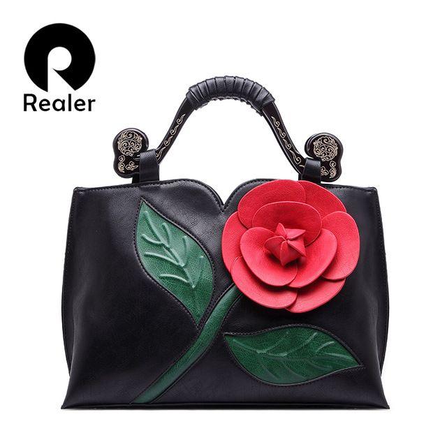 REALER Бренд женская сумка с цветами, ретро дамские сумочки через плечо, 2016 мода розовая сумочка  и синяя сумка
