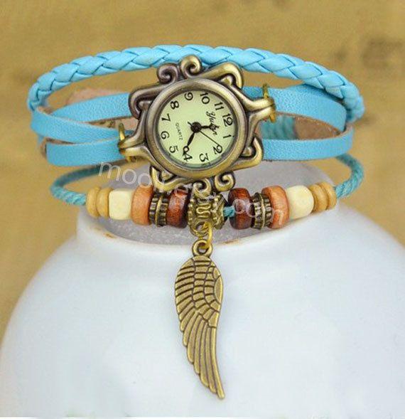 7 colorescuero mujeres abrigo abrigo reloj dama pulsera por mooli, $7.99