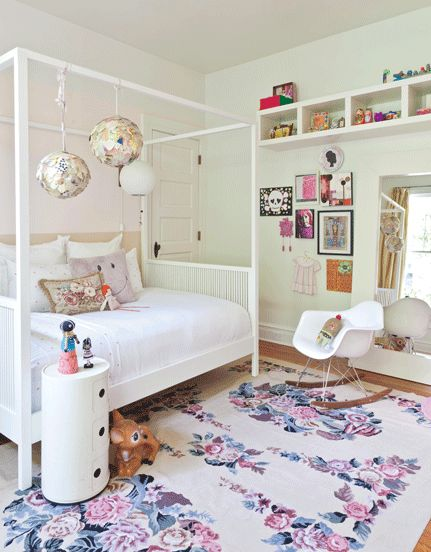 Really pale blue walls with pops of color and patterned rug (less girly, but you get the idea)