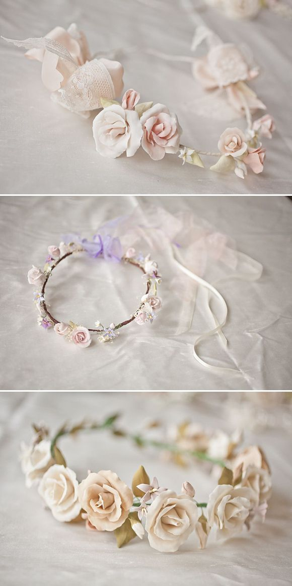 Pink, ivory and lilac floral circlets made from clay by www.lila-lila.com. Photography by http://www.katylunsford.com/