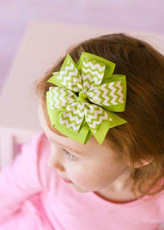 The Hair Bow Company | Lime Green Chevron Pinwheel Hair Bow  $3.99
