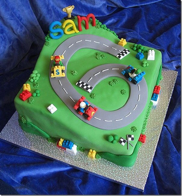 Birthday Cake Photos Racing Car : Lego Race Car Cake Reese s Birthday Pinterest