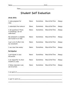 This is a great Student Self Evaluation form to use for any class! Students evaluate their study skills, behaviors, and performance. This form is nice to use to show parents at conference time, or for students to see growth over time.