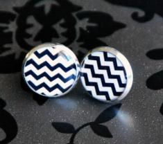 Black and White Chevron Resin Post Silver Earrings