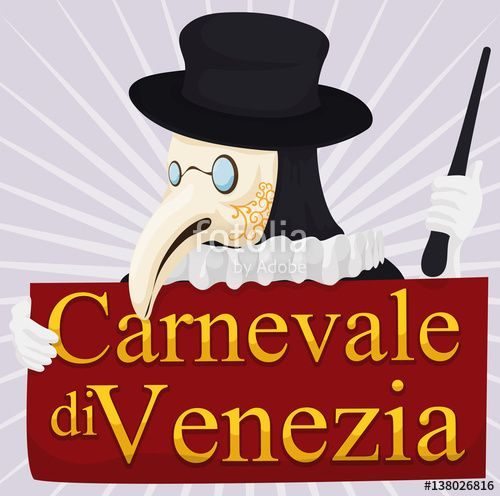 Traditional Plague Doctor Holding a Sign for Venice Carnival