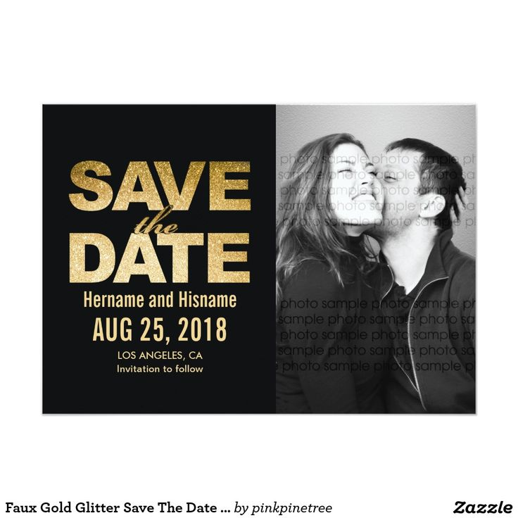sample wording for save the date wedding cards%0A Shop Faux Gold Glitter Save The Date Custom Photos Card created by  pinkpinetree  Personalize it with photos  u     text or purchase as is