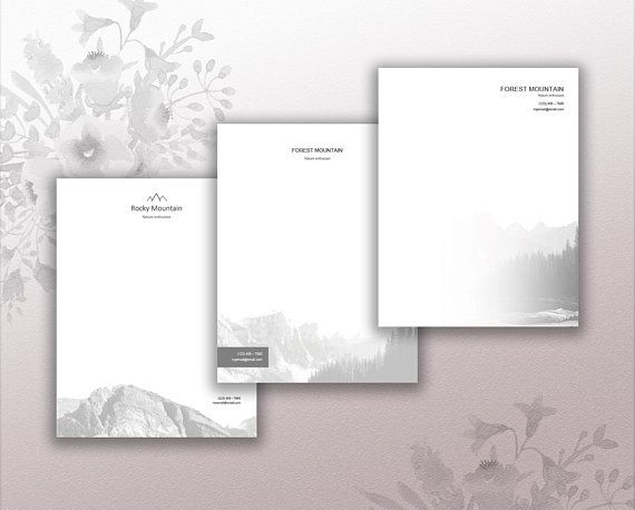 Pack of Three Personal Letterhead Design Stationery Download