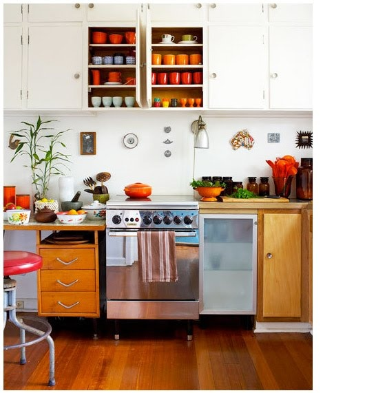 Victoria McKenzie's Australian kitchen with bright pops of color and a slightly retro feel. @Jessica Jones
